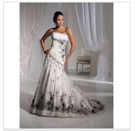 Black&White Embroidery Wedding Dress Bridal Gown