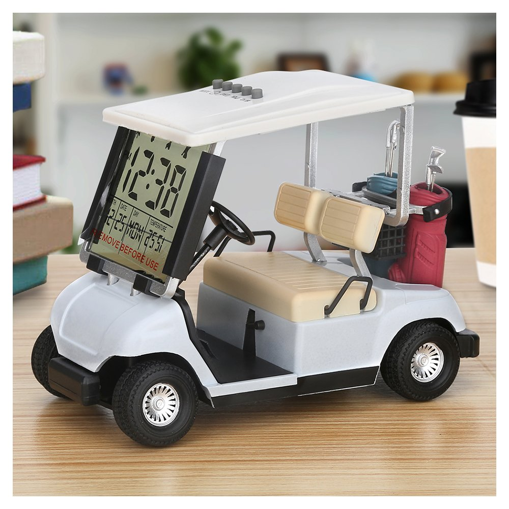 Metal Multifunctional Golf Cart Model Electronic Perpetual Calendar Thermometer Alarm Clock Trainer Fan Gift