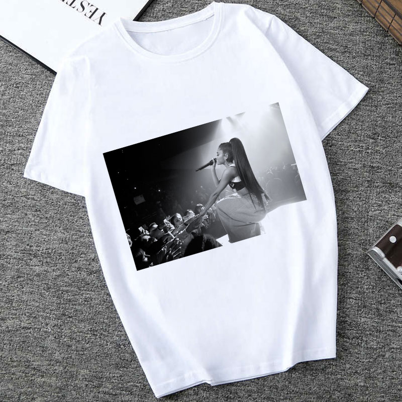 Ariana Grande Shirt Style Picture Puzzle Kawaii Funny Printing Polyester Short-sleeved T Shirt Large Size Women Clothes Tops
