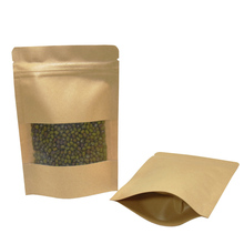 200pcs/lot Heat Sealable Stand Up Kraft Paper Bag Reclosable Zipper Bags Dried Food Candy Sungar Smell proof Storage Bag