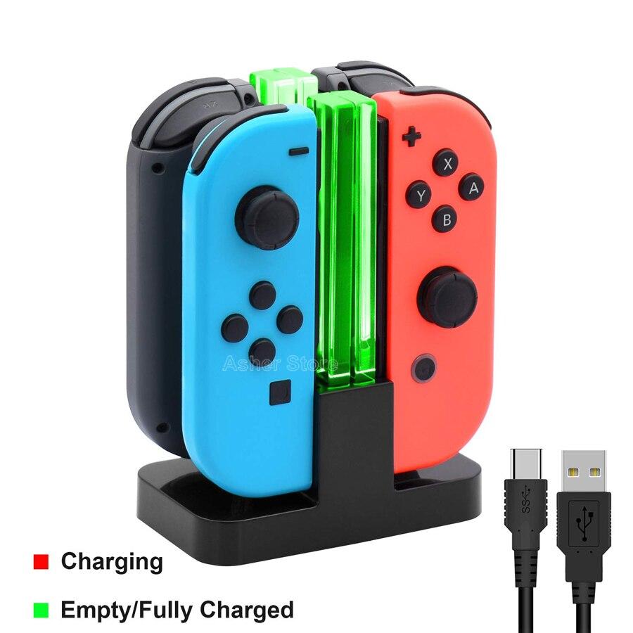 Контроллер Nintendo Switch 4, зарядное устройство светодиодный светодиодным индикатором, зарядная док-станция для Nitendo Switch Nintendoswitch NS Joy-con, аксессуа...