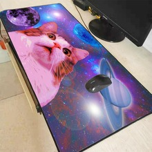 XGZ Cat In Space Animal Laptop Computer Waterproof Speed Anime Mousepad Gaming Mouse Pad Pc Large Big Locking Edge