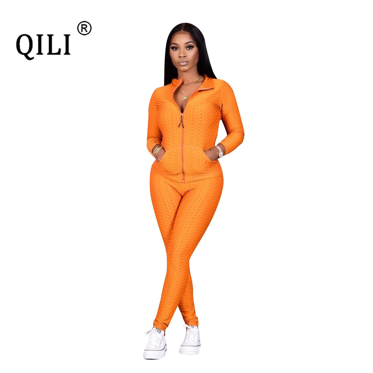 QILI 2020 Autumn Winter Women Outfits Zipper Top + Pants Sets Office Lady Plaid Jacquard Long Sleeve Two Piece Casual Outfits