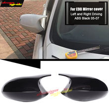 E90 Side Mirror Caps ABS Black Fits For BMW 3 Series 320i 323i 325i 328i 330i 335i Rearview mirror Cover 1:1 Replacement 2005-07 e90 carbon fiber rear view mirror cover side mirror caps 1 1 replacement fits for bmw 3 series 320i 323i 325i 328i 330i 2005 07