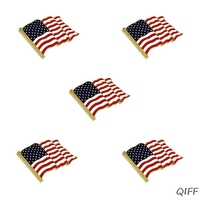 5Pcs Waving American Flag Enamel Lapel Pin Brooch Patriotic Proudly Jewelry