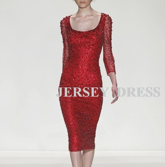 New Red Paillette Lace Long-sleeve Bridal Red Short Beaded Sexy Gown Rihanna Celebrity Red Carpet Mother Of The Bride Dresses