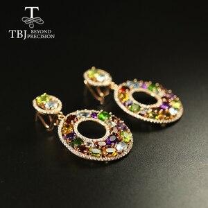 Image 2 - Tbj Big luxury Party Gemstone Earring,20ct Multi colorful gemstone c earring 925 sterling silver rose gold fine jewelry women
