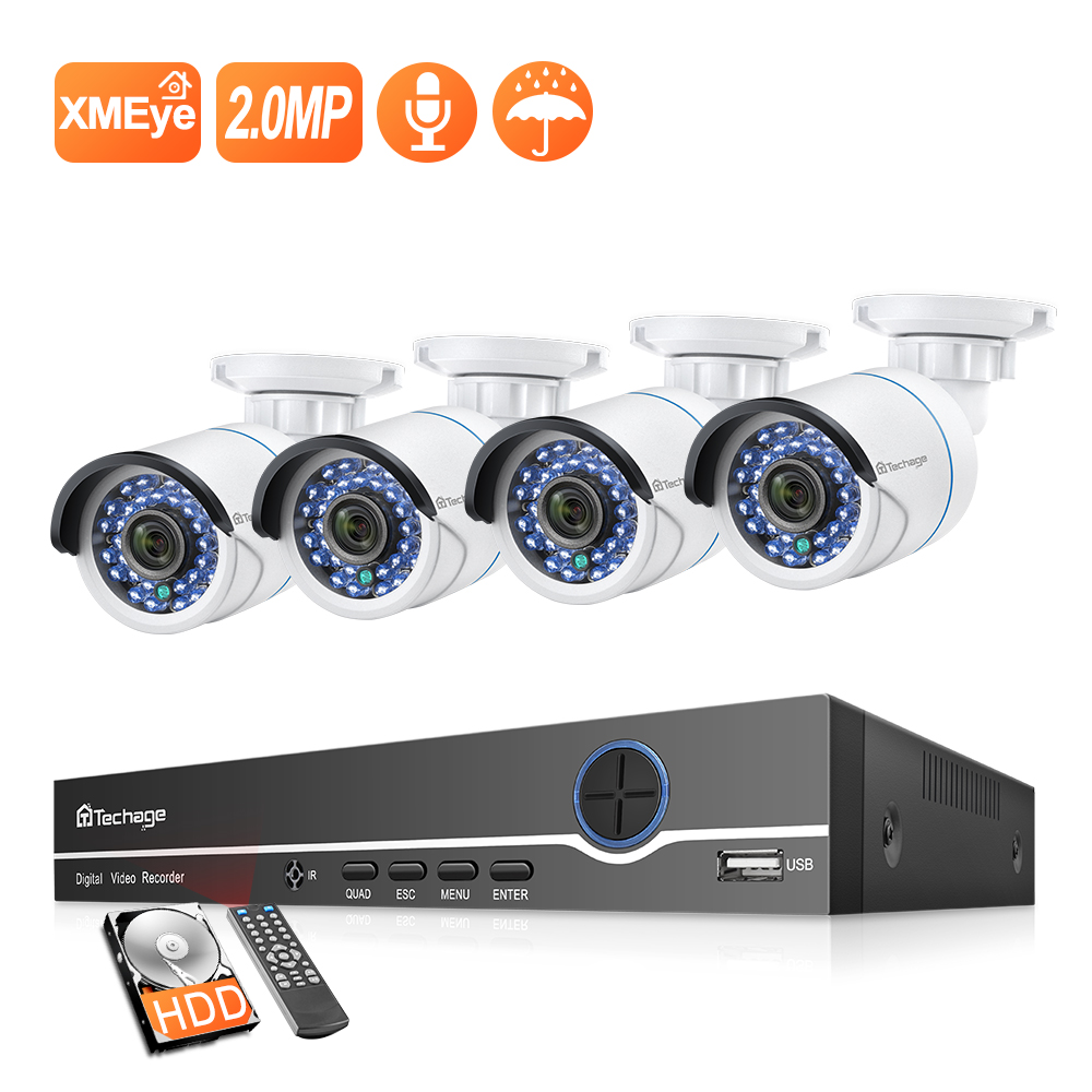 Techage 8CH 1080P NVR Kit POE Security Outdoor Waterproof Camera System 2MP Audio IP Camera IR-Cut CCTV Video Surveillance Set