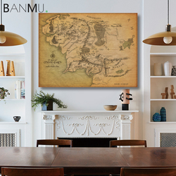BANMU Middle Earth Retro Near HARAD City Map Wall Art Poster Vintage Map Wall Canvas Paintings Livingroom Home Decor