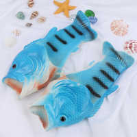 New Funny Fish Shaped Slipper Summer Outdoor Couple Soft Beach Flip-flops Men And Women Breathable Shoes Lovers Drag Slippers