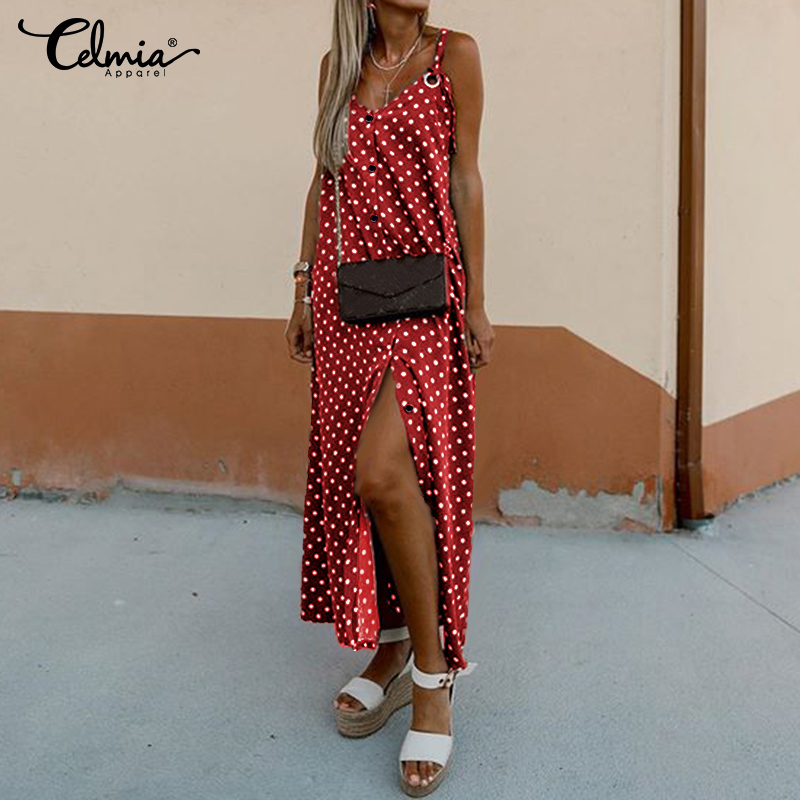 Celmia 2020 New Long Split Vestidos Women Straps Sleeveless Summer Sundress Polka Dot Printed Maxi Dress Casual Female Robe  5XL
