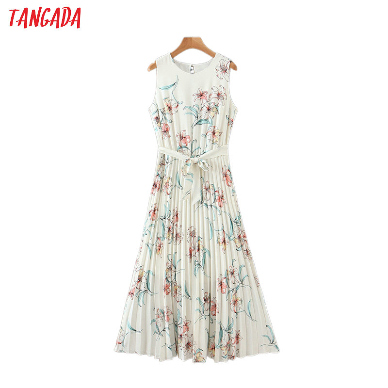 Tangada Women Floral Print Sleevless Summer Dress O Neck Females Pleated Elegant Work Midi Dresses Vestidos HY222
