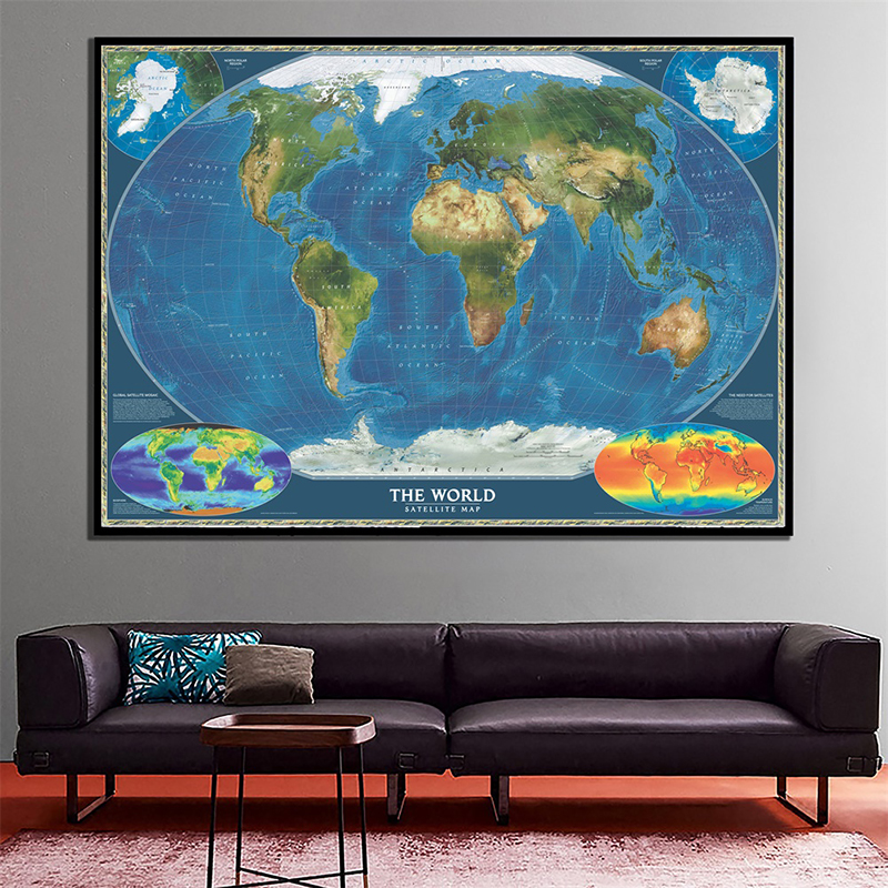 150x100cm Non-woven Spray World Map The World Satellite Map With National Flag And Surface Temperature Map