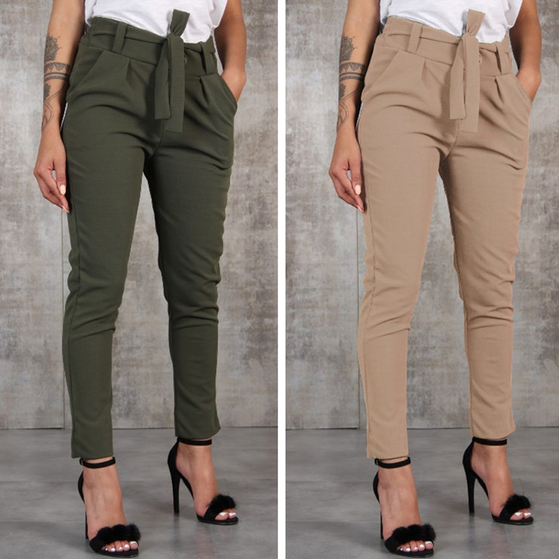 2020 New Striped OL Chiffon High Waist Harem Pants Women Stringyselvedge Summer Style Casual Pants Female Trousers 5