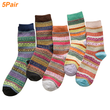 5 Pairs Soft Thick Middle Tube Socks For Women Men Artificial wool Keep Warm Christmas Sock Breathable Stripe Winter Wool