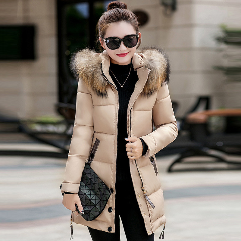 Winter Warm   Parkas   New Fashion 2019 Thick Cotton Padded Jackets Women Casual Long Coats With Fur Hooded Plus Size Outerwear P216