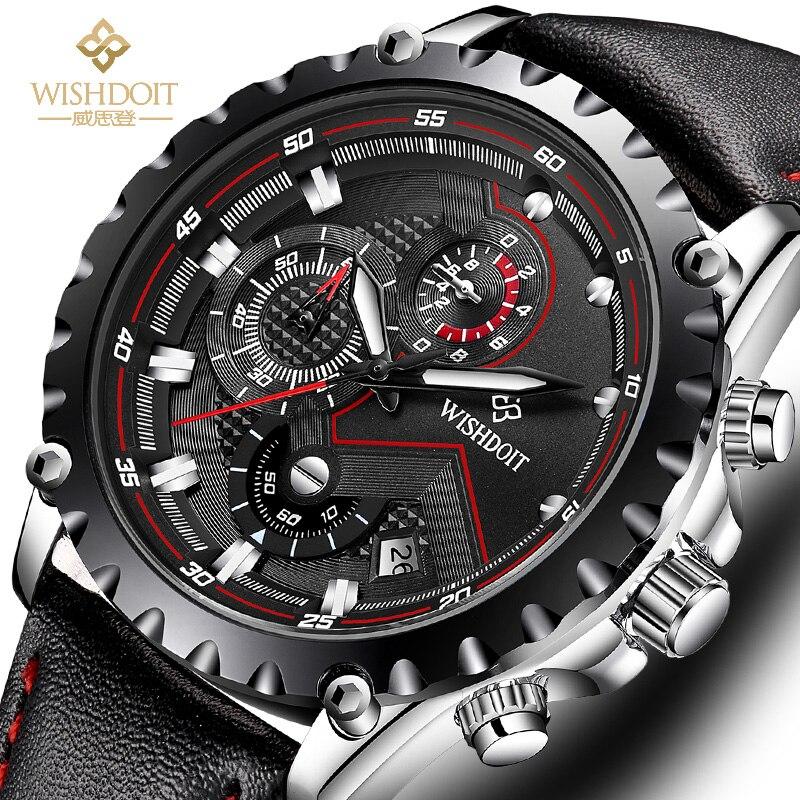 WISHDOIT Men's Watch Top Brand Luxury Leather Luminous Waterproof Quartz Watch Men's Fashion Chronograph Sports Watch часы 1