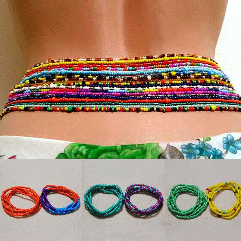 2 шт в упаковке сексуальные летние низкой талией бисерная цепь в африканском стиле живота бусины цветастое пляжное бикини цепочка для живот...
