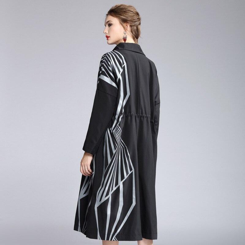 Женский Тренч, Осень зима 2019, отложной воротник, спущенное плечо, длинный рукав, модный принт, Свободное пальто - 5
