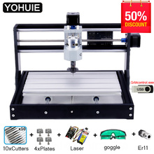 YOHUIE coupeur Laser 3000 CNC Pro, vendu avec 3018 commandes, Mini Machine CNC, fraiseuse 3 axes, graveuse Laser contrôle GRBL