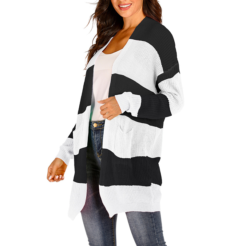 New Knit Cardigan Vintage Women\'s Long Striped Striped Cardigan Sweater Casual Loose Striped Cardigan Black And White XL M-3XL
