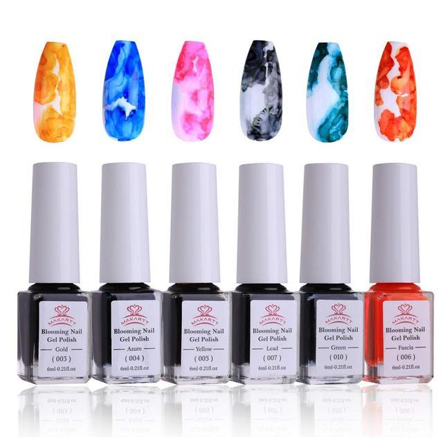 Makartt Aquarel Inkt Bloeiende Nagellak Magic Blossom Polish Manicuring Kit Werk Met Transparante Marmer Patroon Nail Vanish