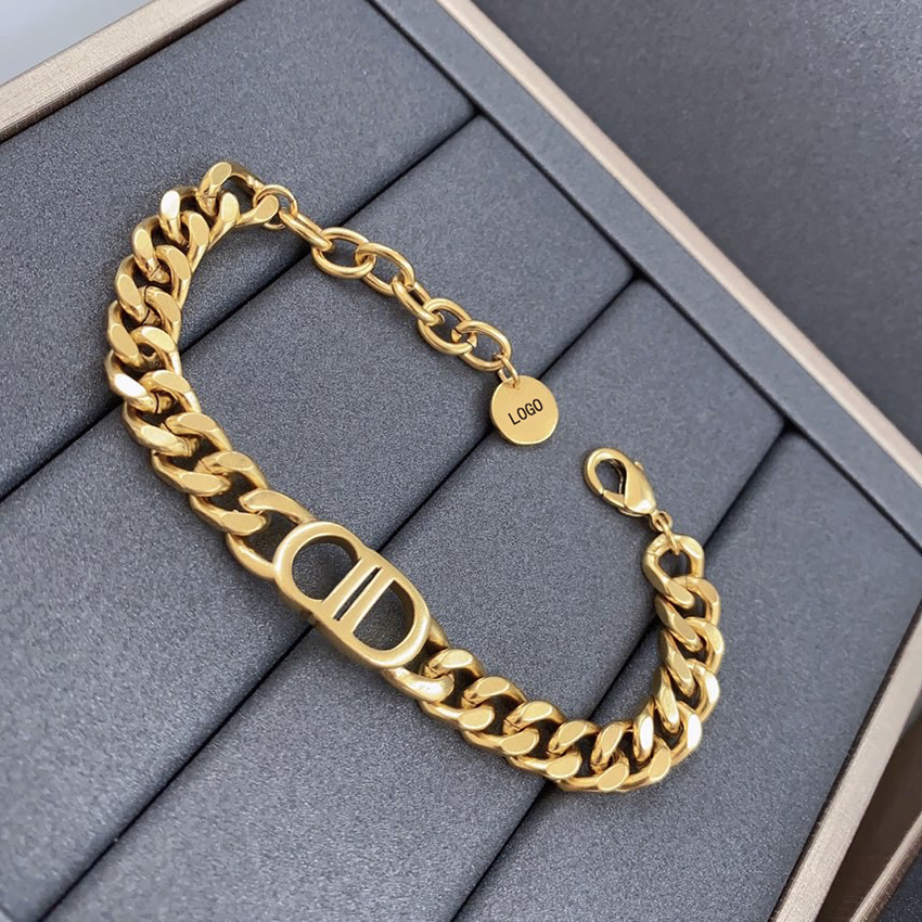 New gold 18K bracelet for women hip-hop charms personality chain bracelet jewelry holiday gift free shipping