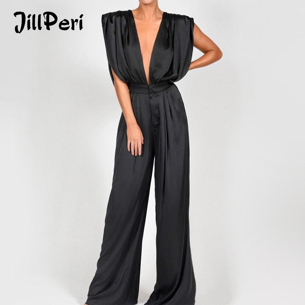 JillPeri Deep V Neck Sleeveless Sexy Jumpsuit Luxury Silk Satin Solid Flare Pant Romper Elegant Outfit Party Wear Women Jumpsuit
