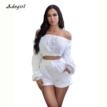 Autumn Winter Plush 2 Piece Set Casual Off The Shoulder Crop Top With Shorts Women Sets Lace Up Slim Night Club Women Outfit off shoulder lace up crop top