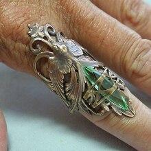 Anillo de máscara Vintage étnico Metal antiguo plata Tribal joyería ala hueca pájaro verde zirconia anillos para Mujeres Hombres regalo z4P438