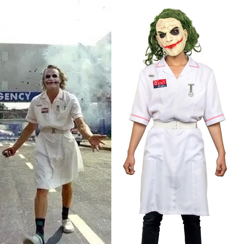 Takerlama filme assustador batman o cavaleiro escuro coringa enfermeira vestido uniforme cosplay traje festa de halloween equipamento adereços com máscara