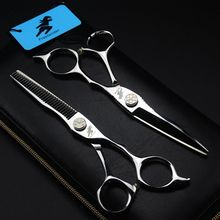 Professional Japan 440 Steel 6 inch Hair Scissors Set Cutting Barber SalonHaircut Thinning Shears Hairdressing Scissors