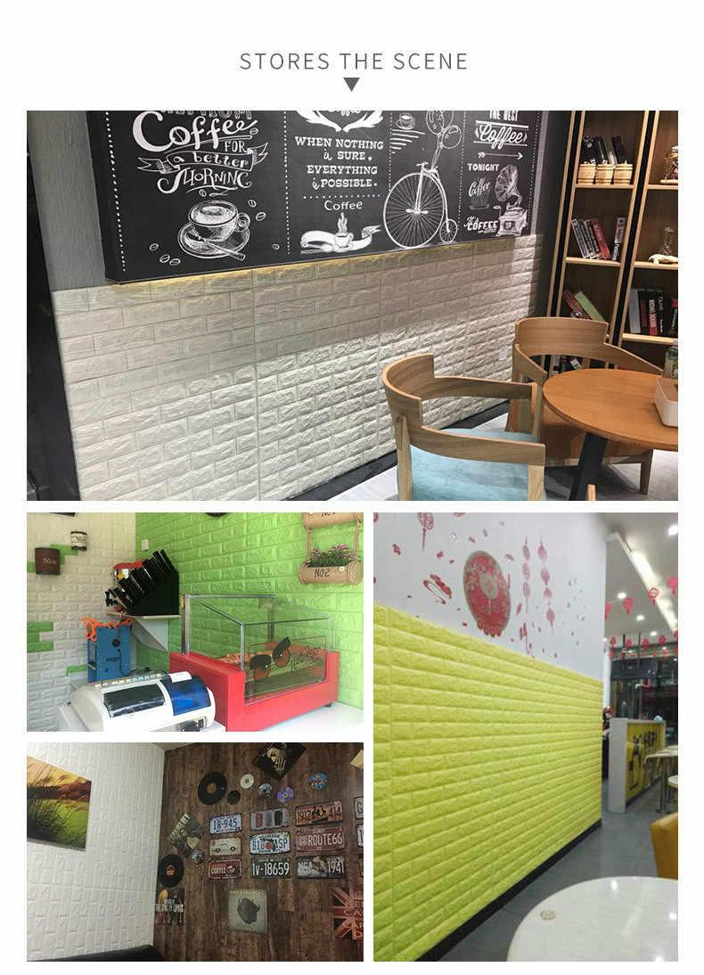 70*77cm DIY עצמי Adhensive 3D לבני קיר מדבקות סלון דקור קצף עמיד למים כיסוי קיר לילדים rm טלוויזיה Background-W001