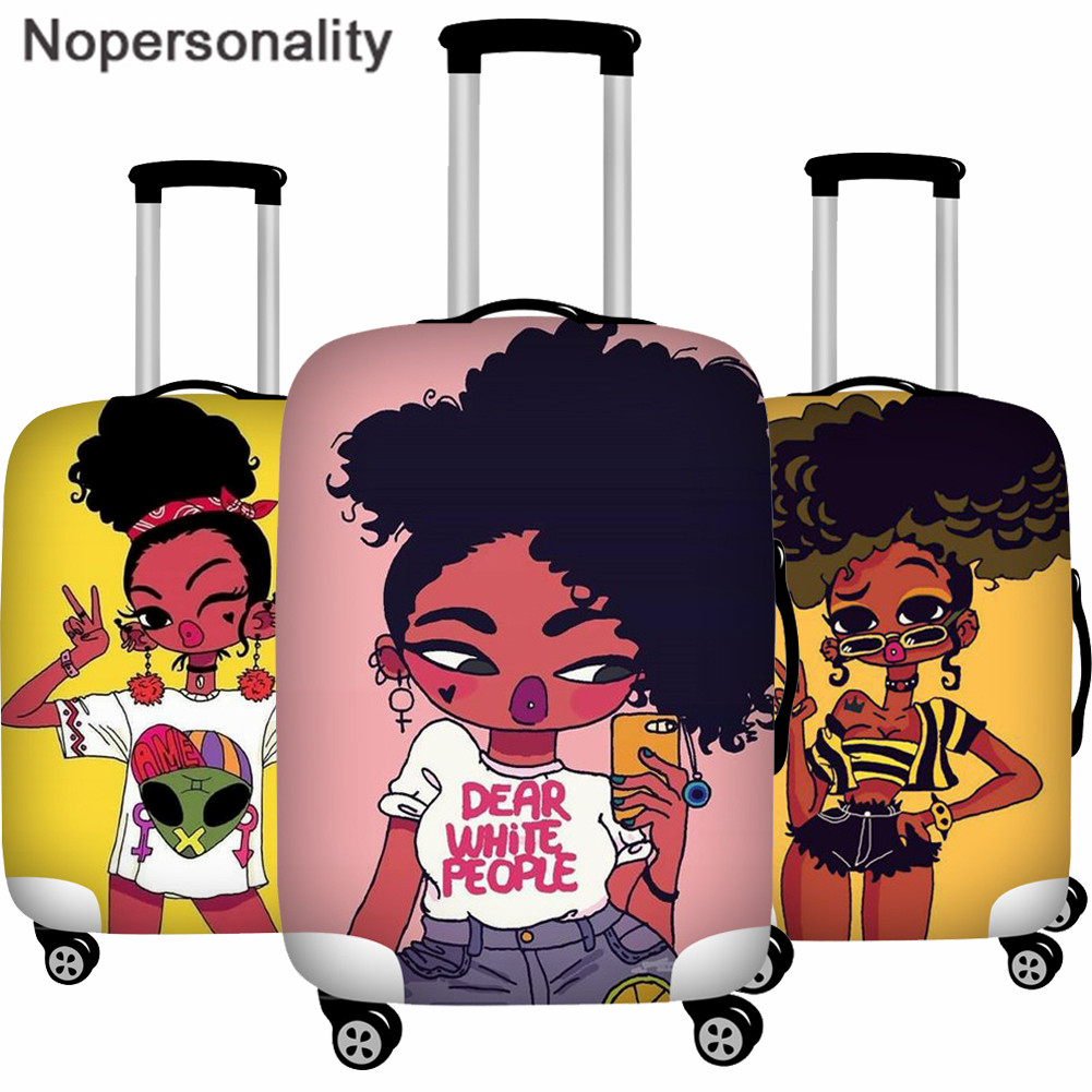 Nopersonality Fashion African Black Baby Girls Printing Elastic Zipper Thickening Luggage Cover Dust Suitcase Protective Case