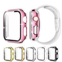 Funda protectora de pantalla completa para carcasa de reloj Apple, 40mm, 44mm, 6, 5, 4, diamante, PC, parachoques + cristal para iWatch, 42mm, 38mm, 3, 2, 1