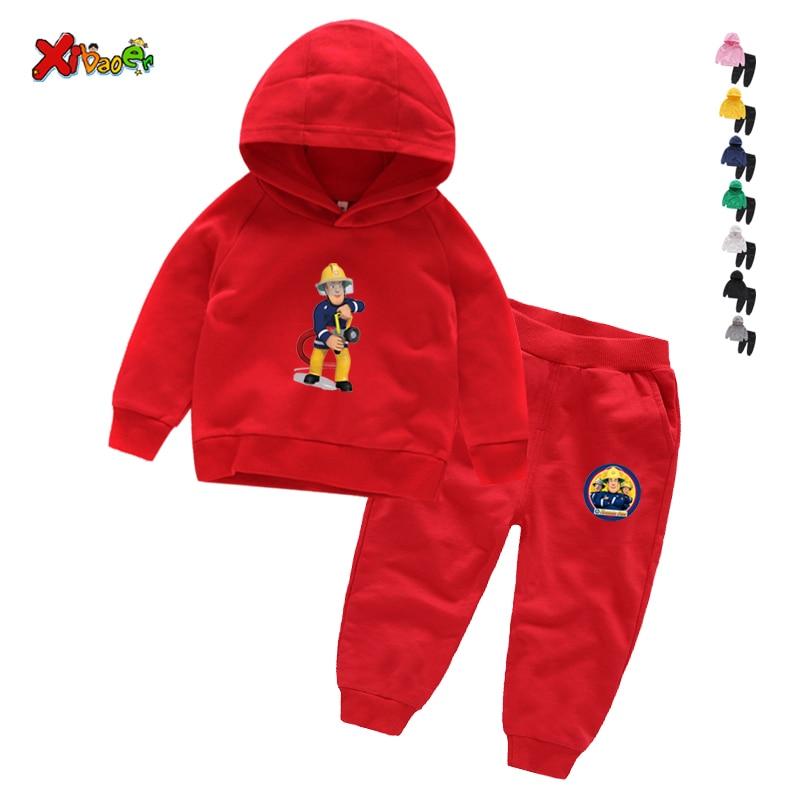 Children Winter Clothes Baby Boys Cartoon Clothing Sets Fireman Sam Pattern Print Cartoons Sweatsets for Boys Girls Kids Clothes 4