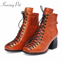krazing pot chic cow leather cross-tied preppy style square toe keep warm colorful skin high heels preppy style ankle boots l75(China)