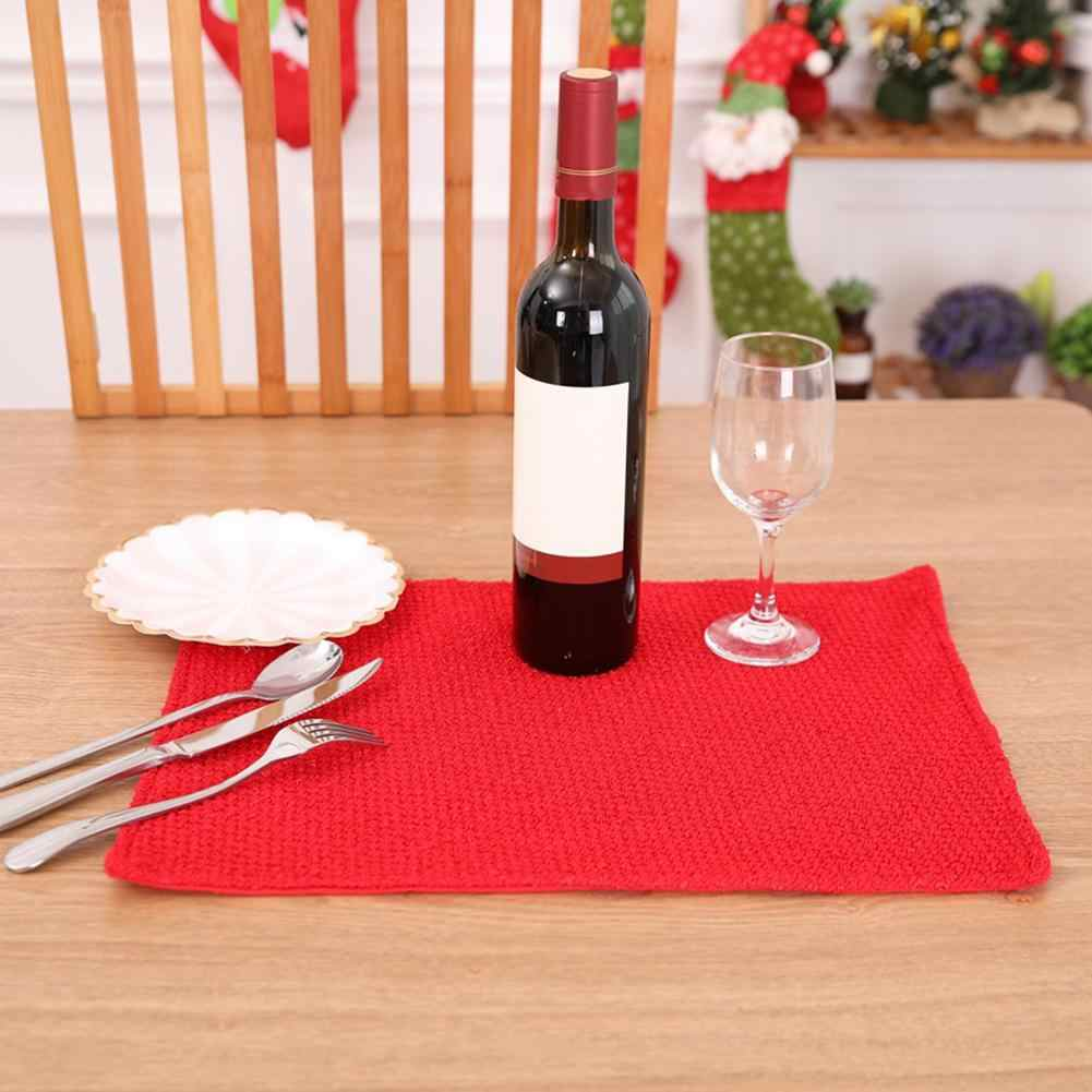 Christmas lucky red Solid Color Polyester Rectangle Heat Insulated Table Mat Dish Bowl Placemat Xmas Home Decor Navidad Decor