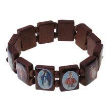 Bracelet Catholic Jewelry Christian-Supplies Wooden Icon Gift Elastic-Bead 4pc New