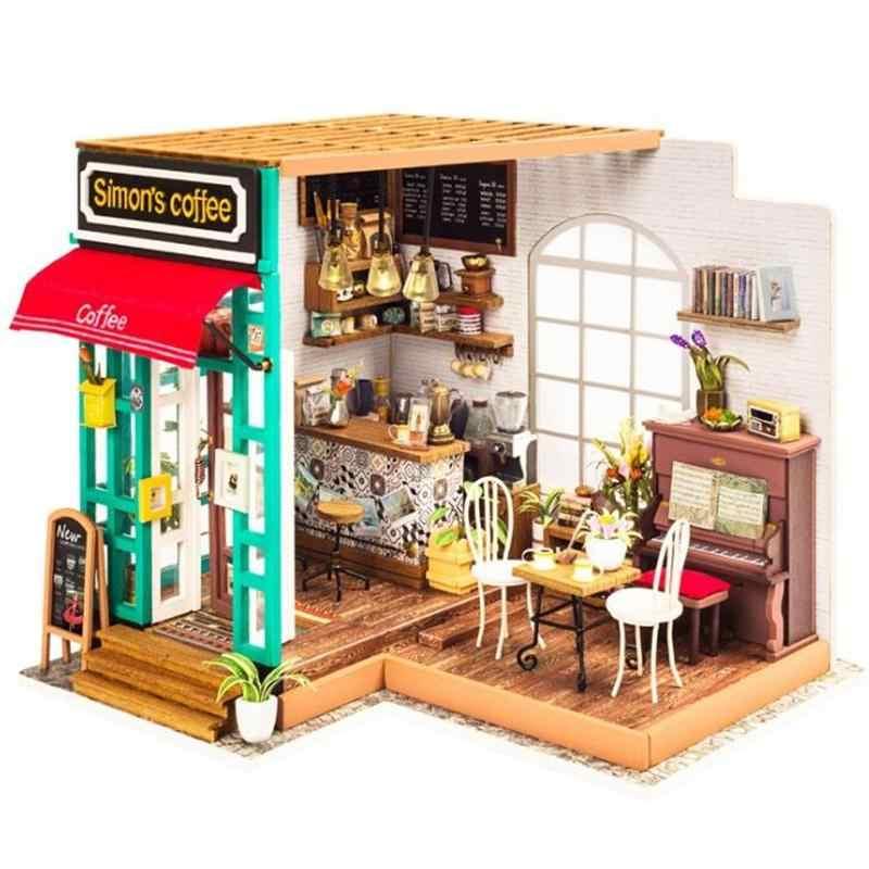 3D 나무 커피 하우스 DIY 인형 주택 미니어처 가구 LED 조명 홈 웨딩 생일 크리스마스 선물