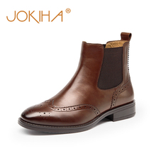 British Womens Chelsea Boots Winter Brogue Boots For Women Square Toe Genuine Leather Woman Ankle Boots Shoes Booties