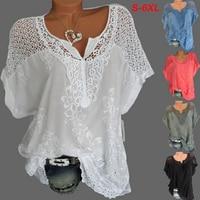 De talla grande de encaje de las mujeres 2021 Camiseta de algodón de verano de las mujeres de moda Tops con cuello en V de manga de murciélago, bordado de alta calidad mujeres camisa S-6XL