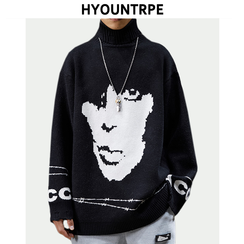 Embroidery Winter Mens Sweater Knitted Pullovers Casual Ripped Long Sleeve Loose High Neck Sweaters New Design Jumper Knitwear