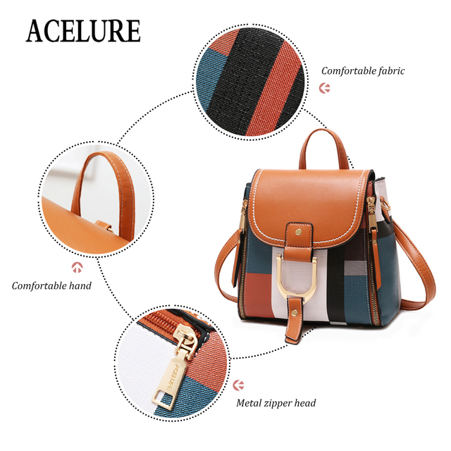 ACELURE Designer Backpacks Women Leather Backpacks Female School BagS for Teenager Girls Travel Back Bag Retro Bagpack Sac A Dos