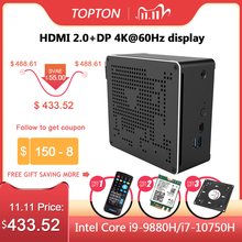 TOPTON Novo Inter 10th Gen Nuc Intel i7 10750H i9 9880H Mini PC 2 Lans Win10 2 * DDR4 2 * NVME Gaming Mini Computador Pc 4K DP HDMI2.0