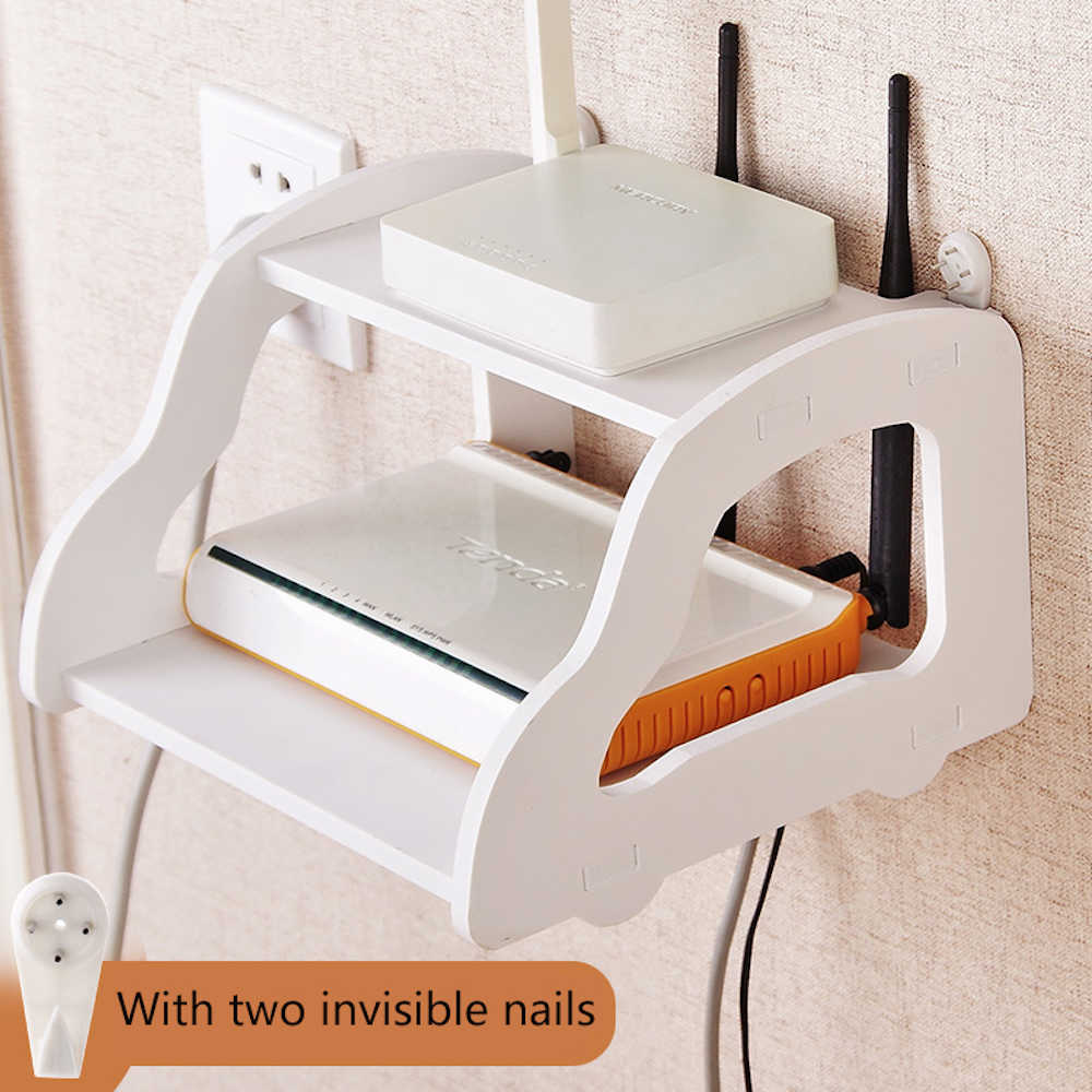 Prime 1Pc Wireless Wood Wifi Router Storage Box Panel Shelf Wall Hanging Bracket Cable Organizer Home Decor White Beatyapartments Chair Design Images Beatyapartmentscom