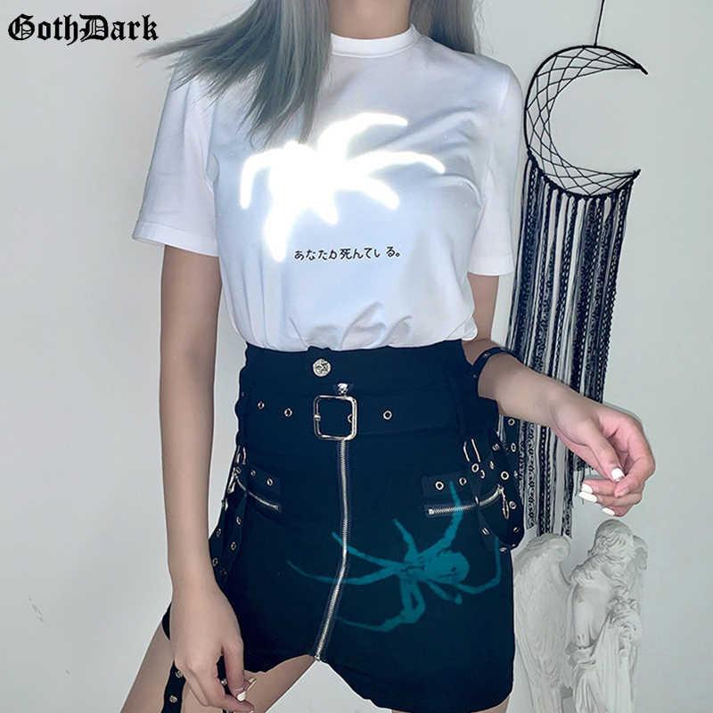 고스 다크 빈티지 고딕 그런지 하라주쿠 반사 거미 인쇄 여성 티셔츠 Emo Y2K Egirl 여름 2020 세련된 흰색 Tshirt 펑크