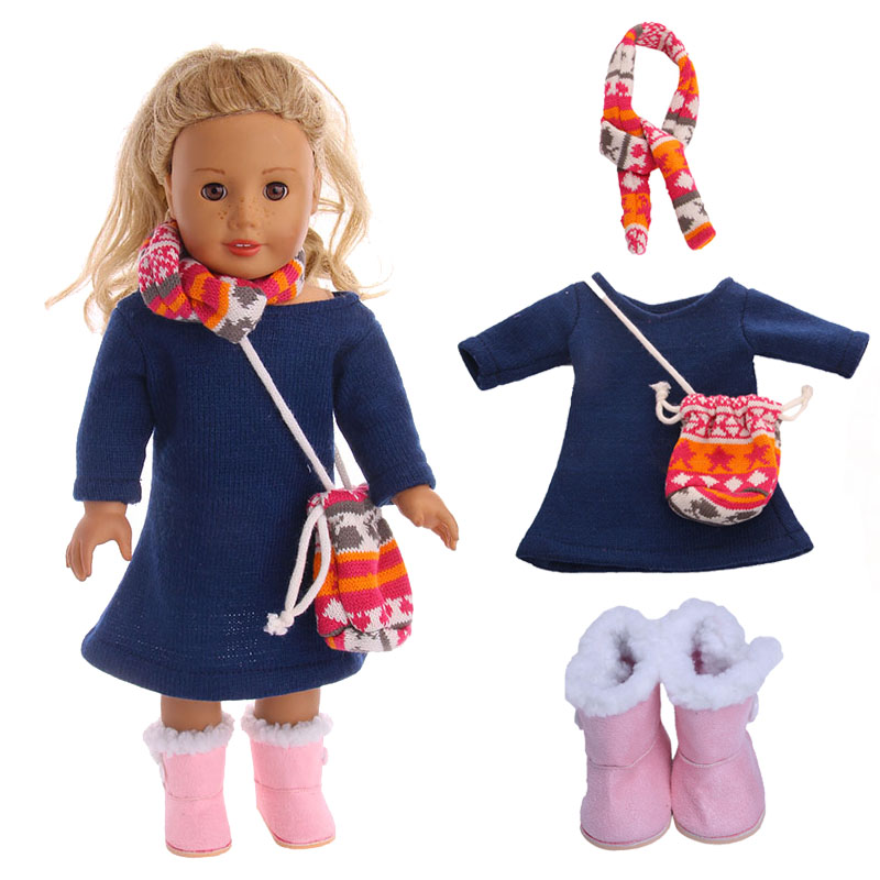 Doll Elk Sweater Knit Set=Hat+Skirt For 18-inch American Doll&43 Cm Born Baby Our Generation Christmas Birthday Girl's Gift