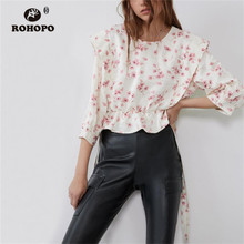 ROHOPO Pink Daisy Floral Ruffled Butterfly Half Sleeve Crop Blouse Back Button Fly Bow Belted Chic Ladies Top Shirt #9756