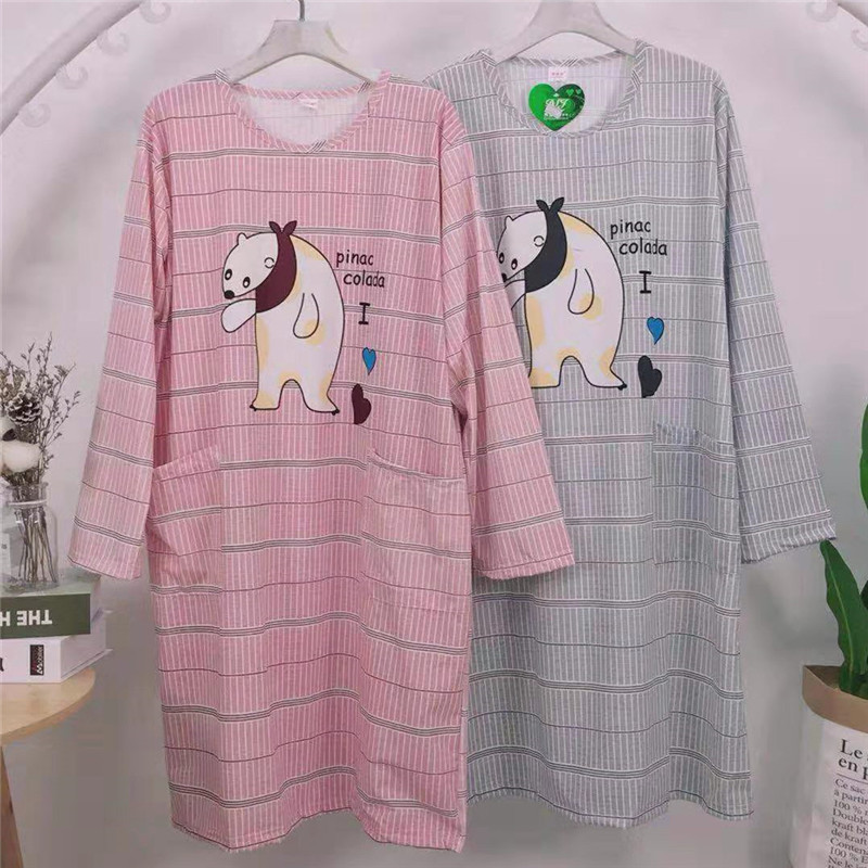 189 # Gram Weight 170 One Size Plus-sized Loose-Fit Long Sleeve Qmilch Cartoon Nightgown Ultra-Multi-Flower Type